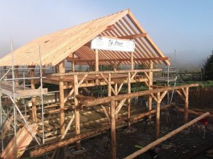 Completed roundwood timber frame for One Plnet Development build in Carmarthenshire.